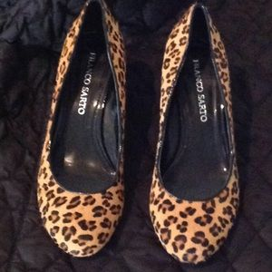 Calf hair leopard dyed wedge pumps EUC